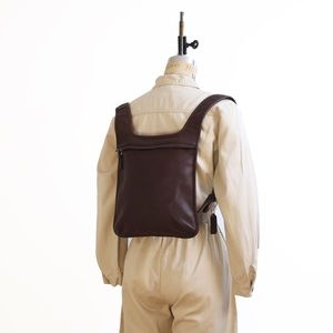 Brown leather Coach backpack
